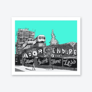 Adore + Endure Light Green, Shoreditch A3 Art Print