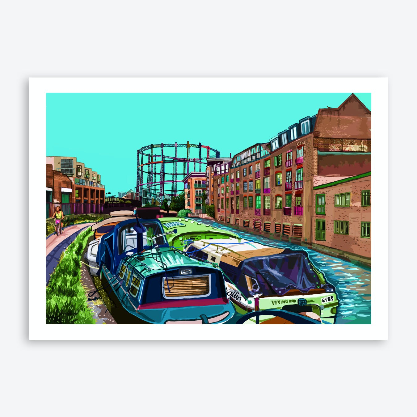 Regent's Canal Green, London Fields, East London A3 Print
