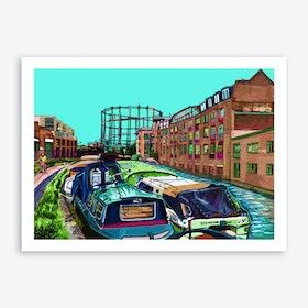 Regent's Canal Green, London Fields, East London A3 Art Print