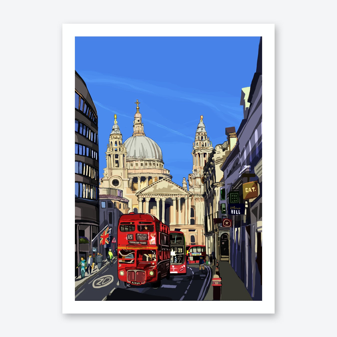 St Paul's Cathedral Blue, London A3 Print