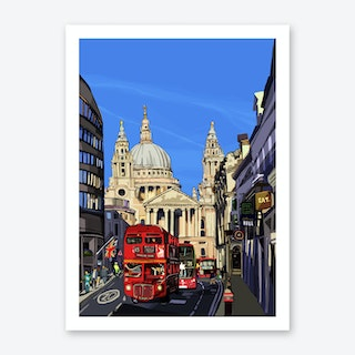 St Paul's Cathedral Blue, London A3 Art Print