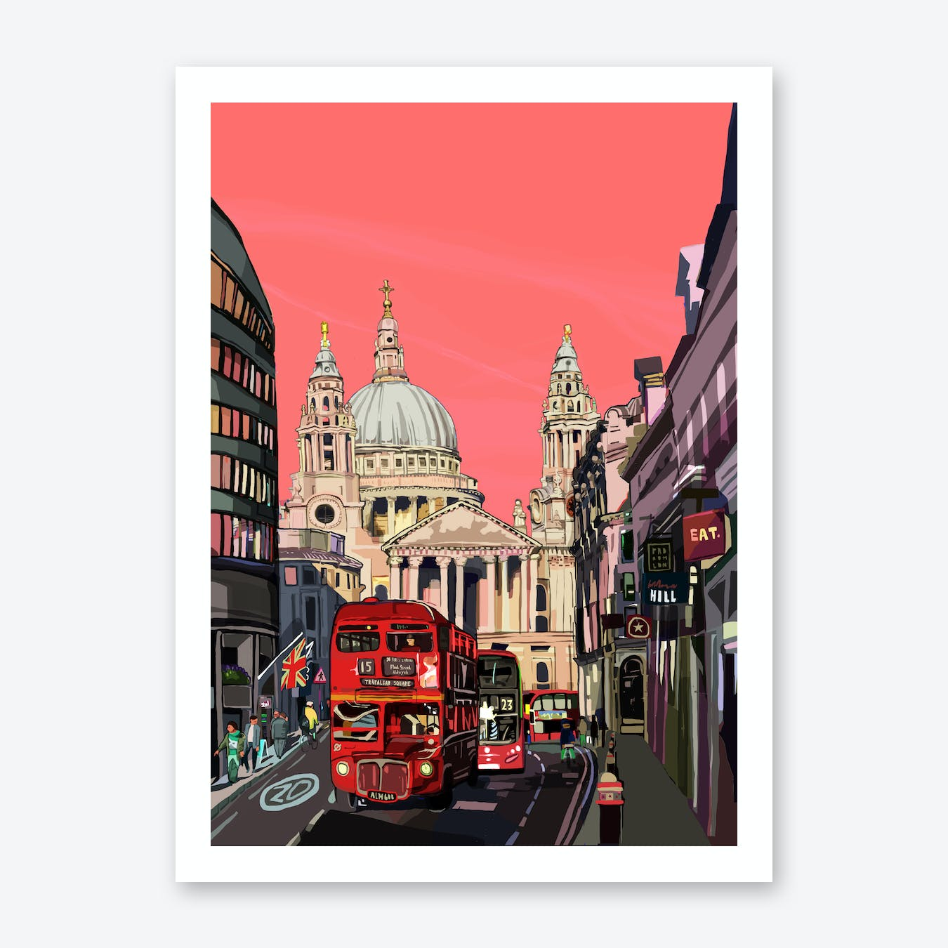 St Paul's Cathedral Pink, London A3 Print