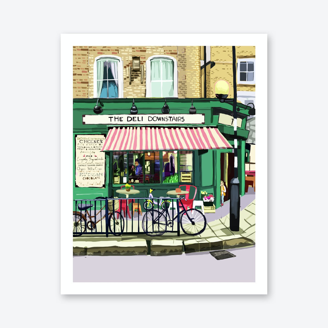 The Deli Downstairs, Victoria Park Village, East London A3 Print