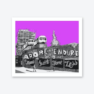 Adore + Endure Purple, Shoreditch A3 Art Print