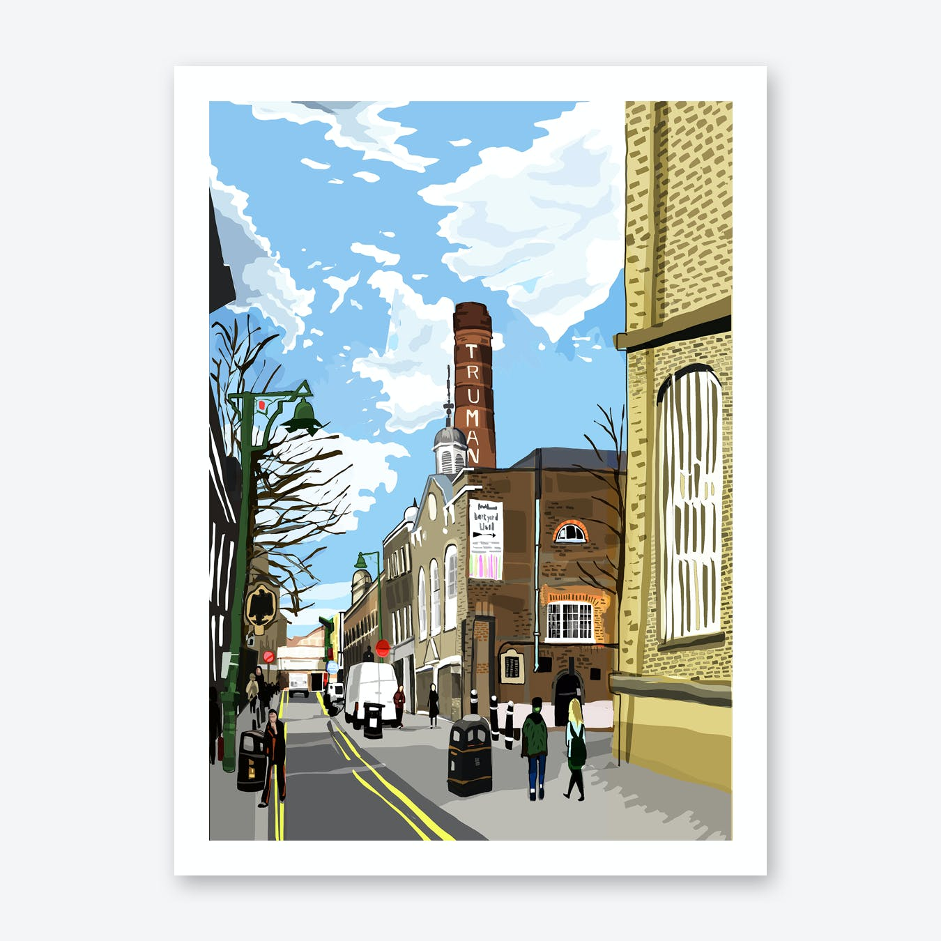 Truman Brewery, Brick Lane, East London A3 Print