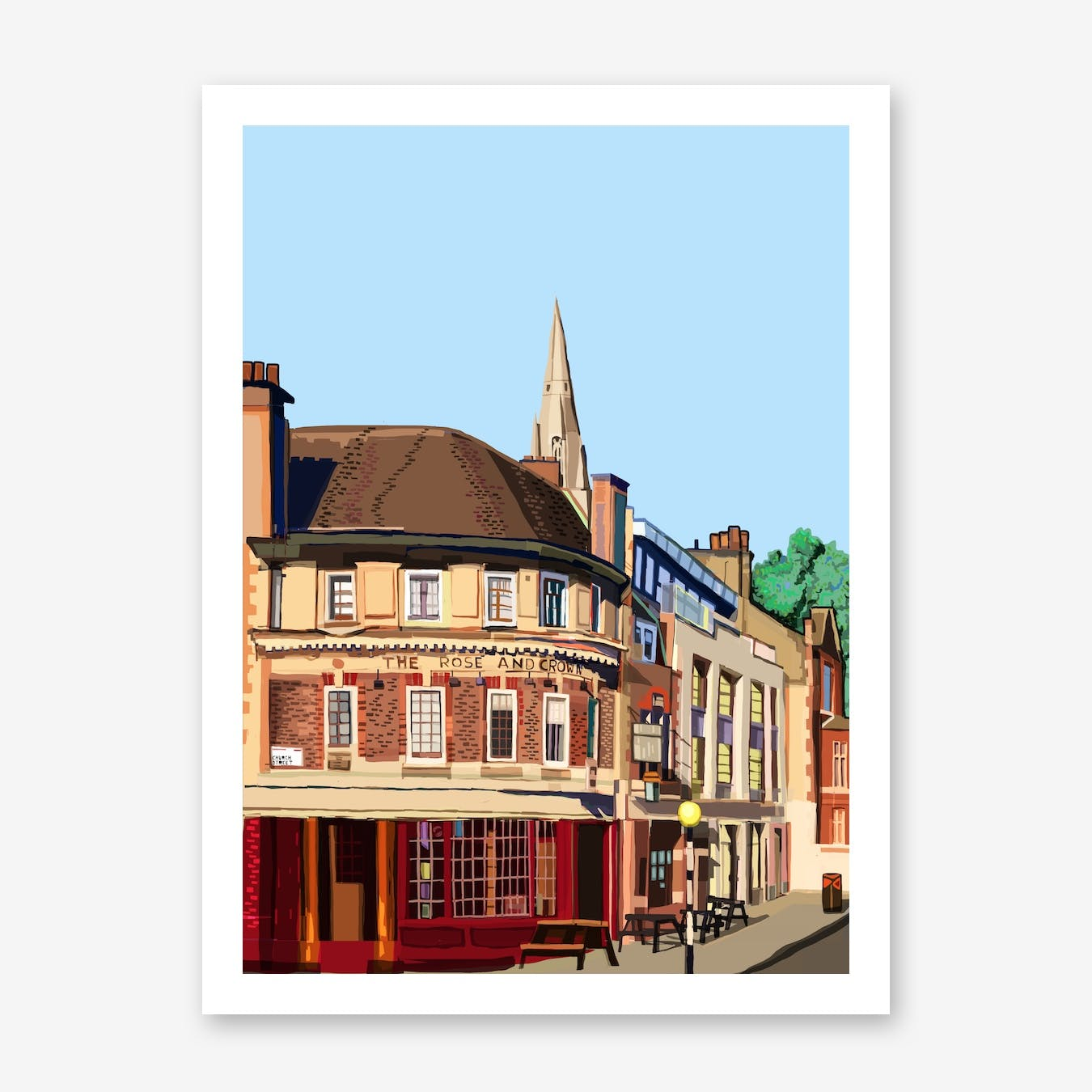 Rose and Crown, Stoke Newington A3 Print