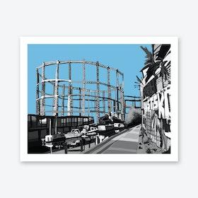Bethnal Green Gas Holders Blue, East London A3 Art Print