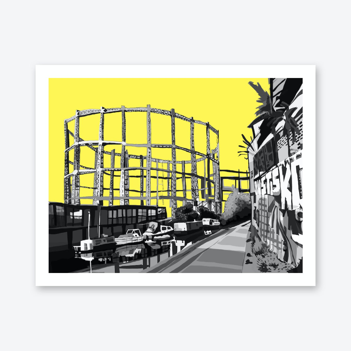 Bethnal Green Gas Holders Yellow East London A3 Print