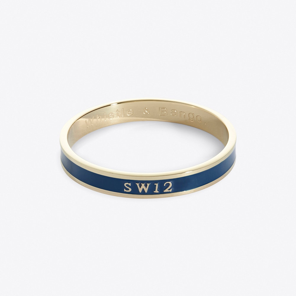 Balham Postcode Bangle In Azure