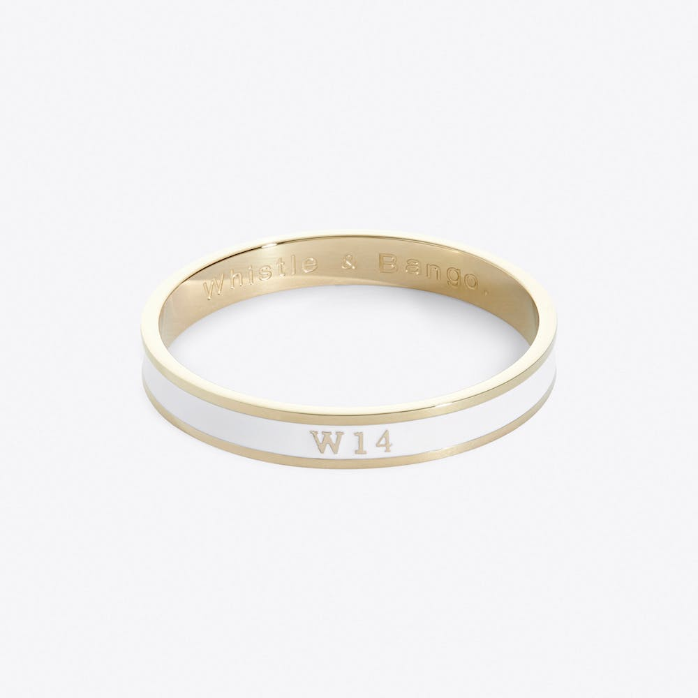 West Kensington Postcode Bangle In Champagne Cream