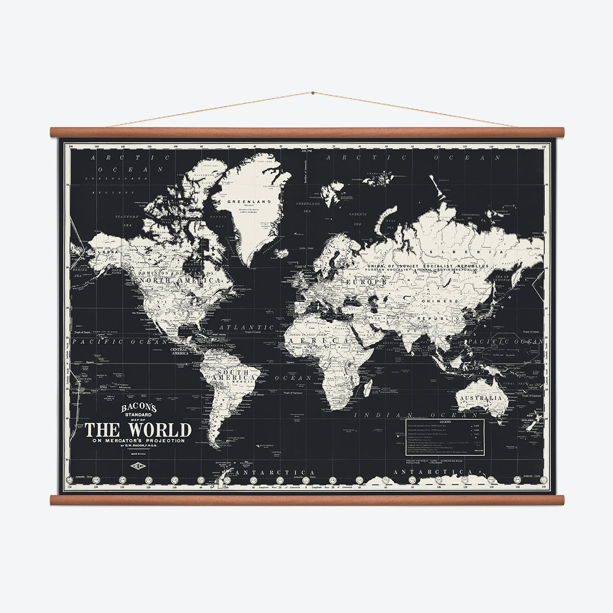 World Wall Map - Black