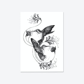Hummingbirds & Honeysuckle Fine Art Print