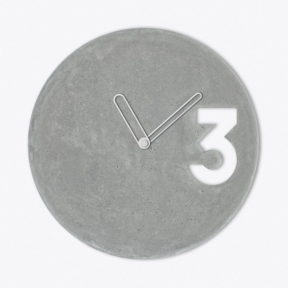 Concrete Clock In White Outline