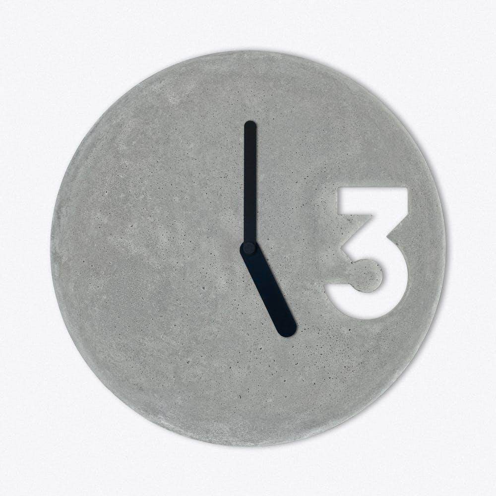 Concrete Clock In Full Black