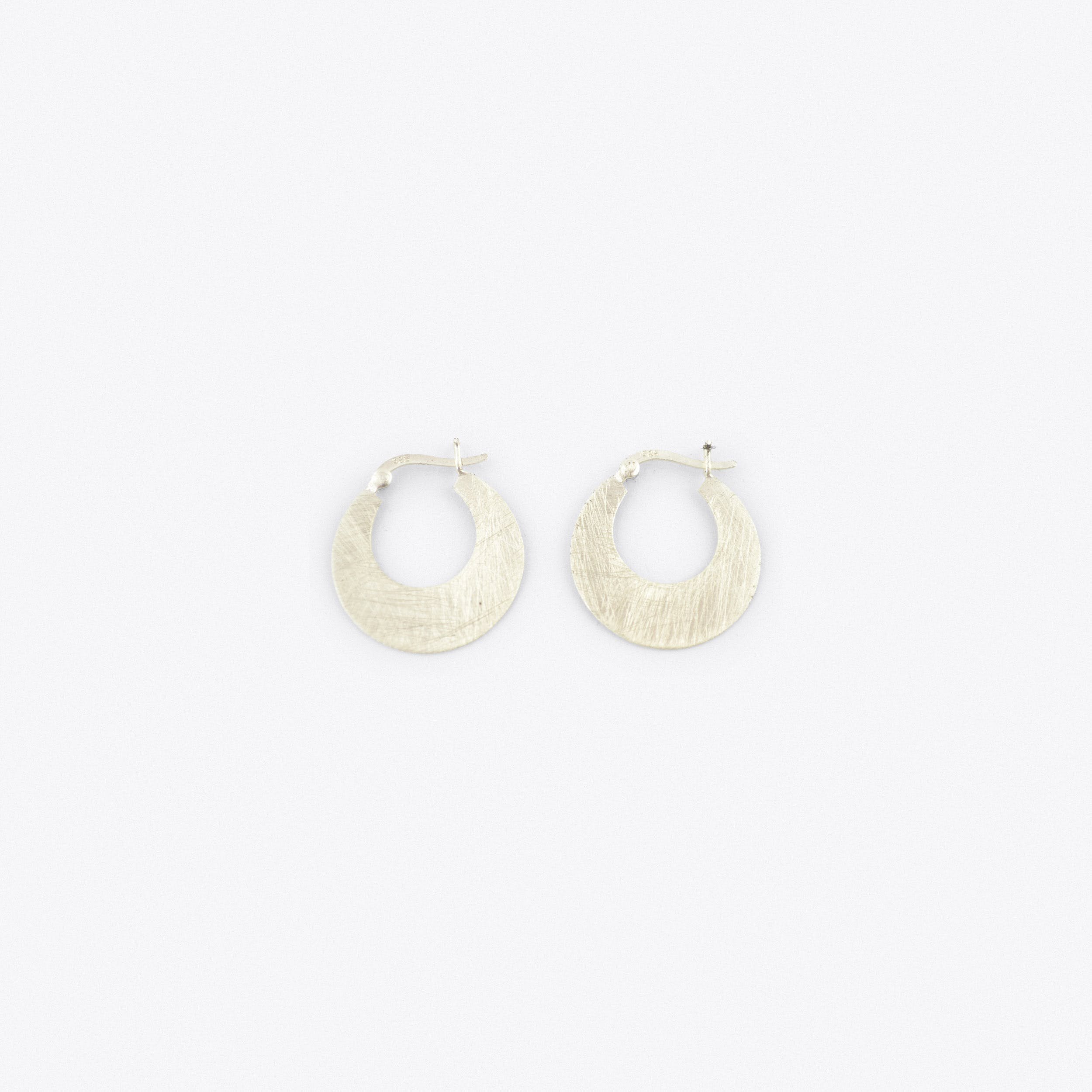 Brushed Finish Sterling Silver Bohemian Hoop Earrings