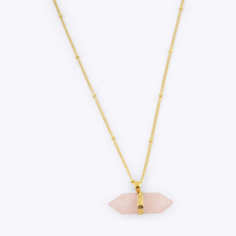 Gold Horizontal Quartz Crystal Necklace