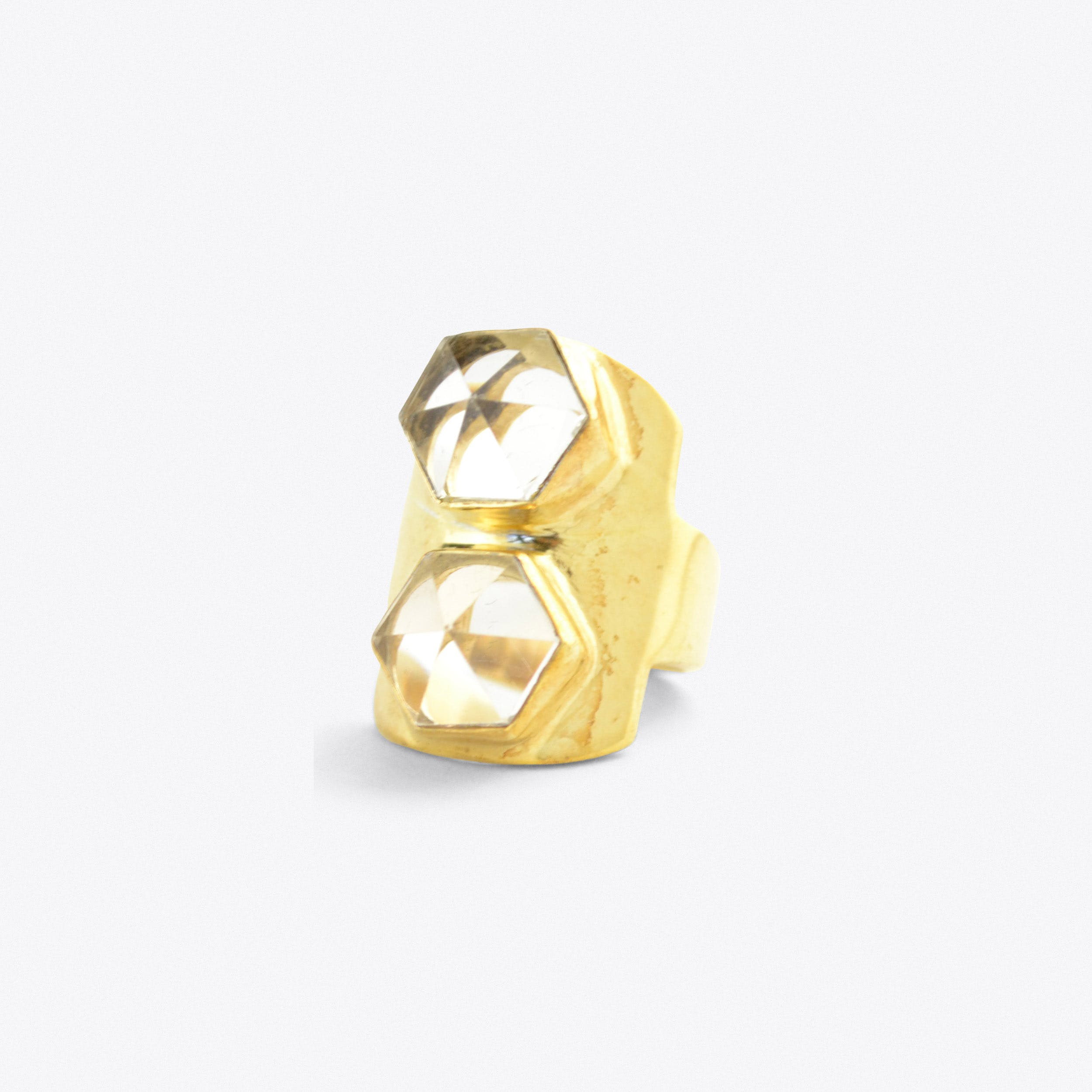 Gold Double Point Crystal Ring