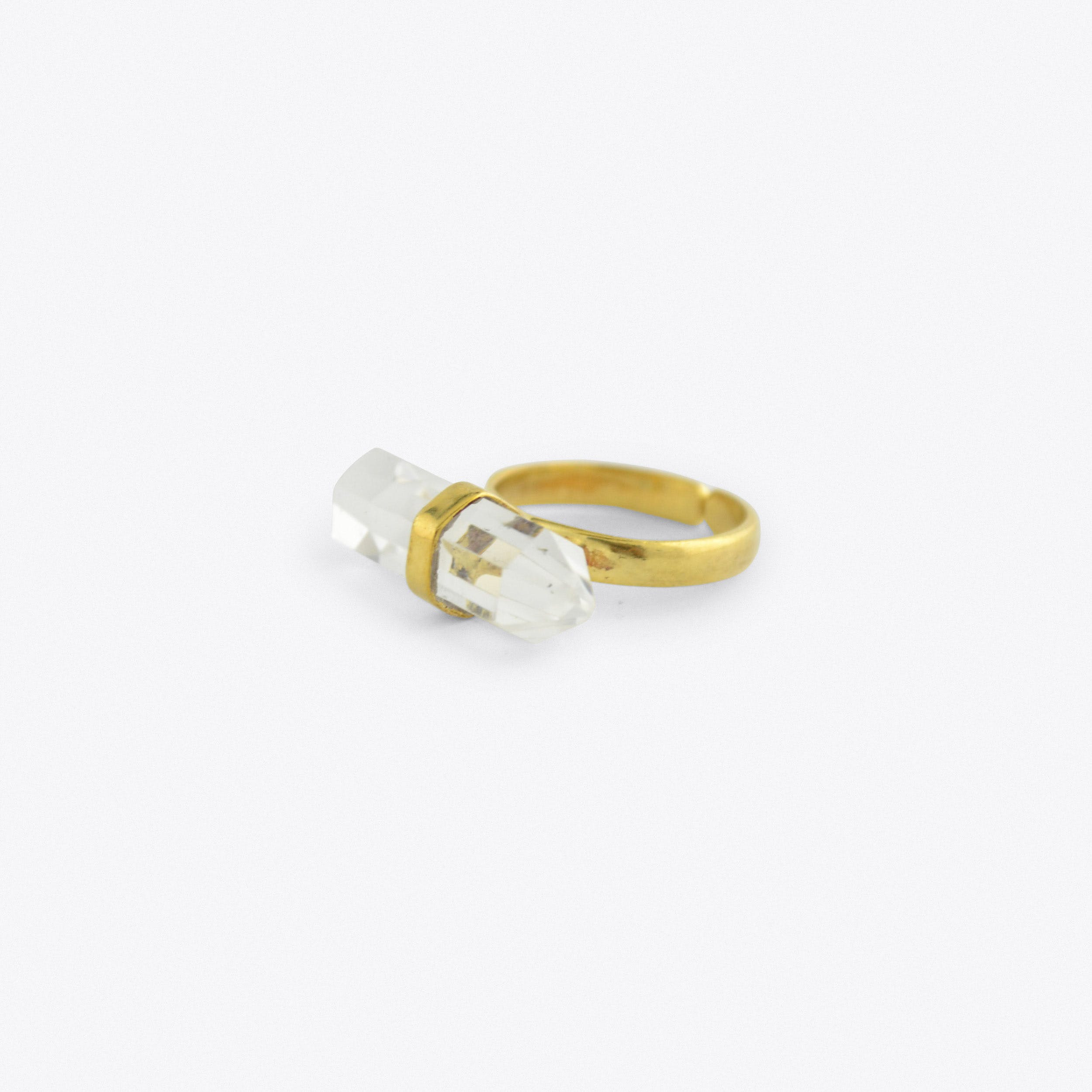 Gold Horizontal Crystal Ring