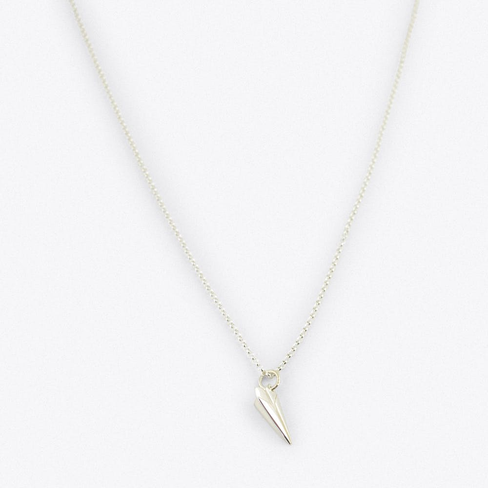 Silver Paper Plane Charm Necklace
