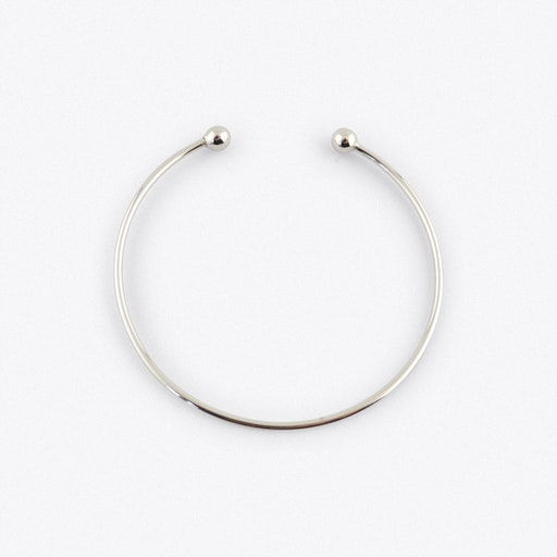 Silver Charm Bangle With Bead Fastening