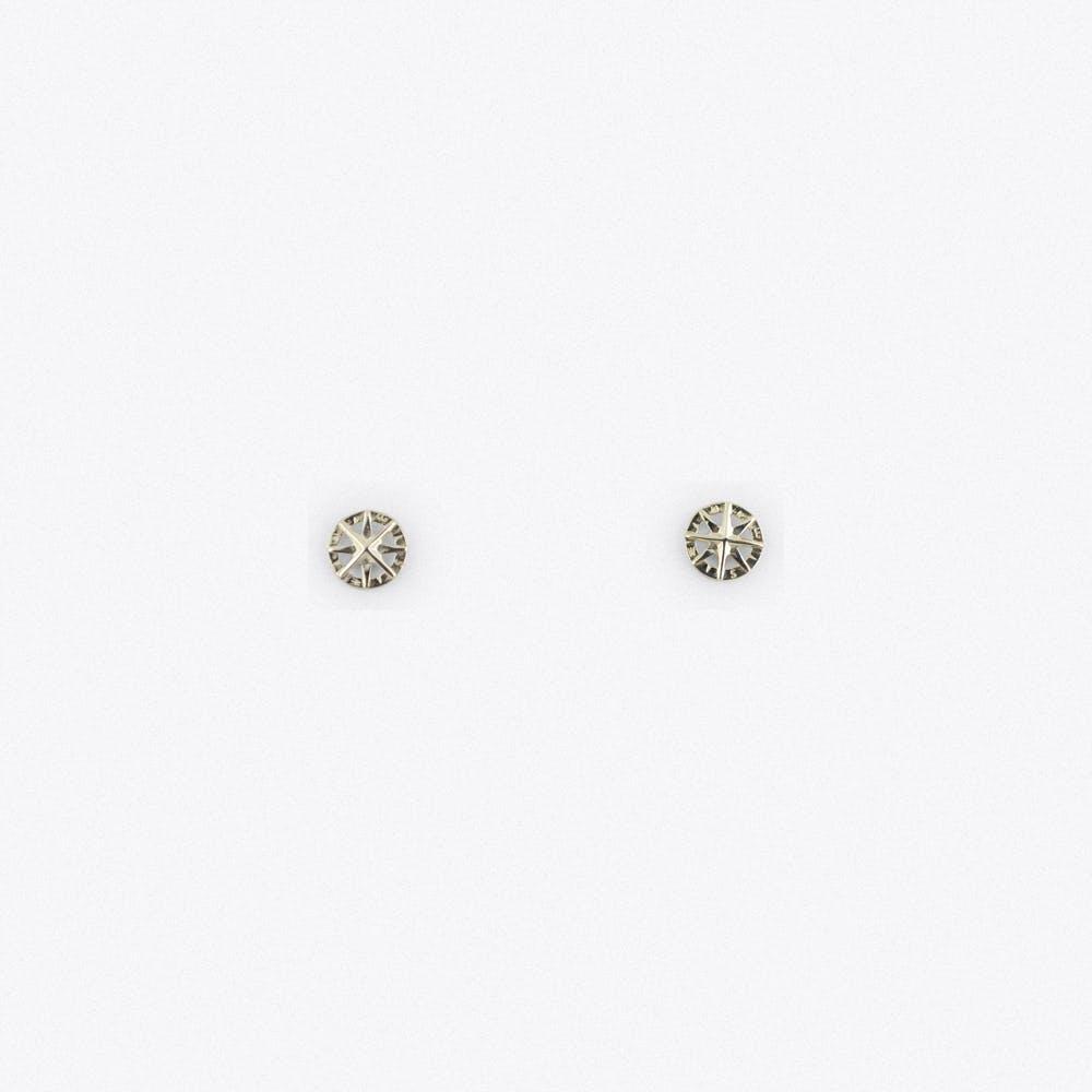Silver Compass Stud Earrings