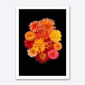 Dahlia Bouquet Orange Art Print