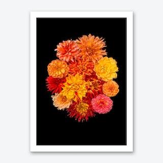 Dahlia Bouquet Orange Art Print