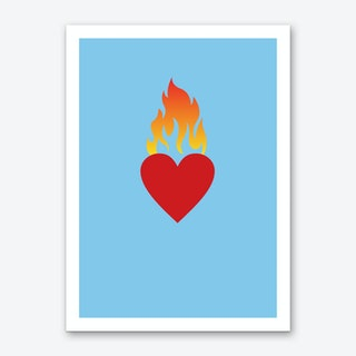 Burning Love Blue Art Print