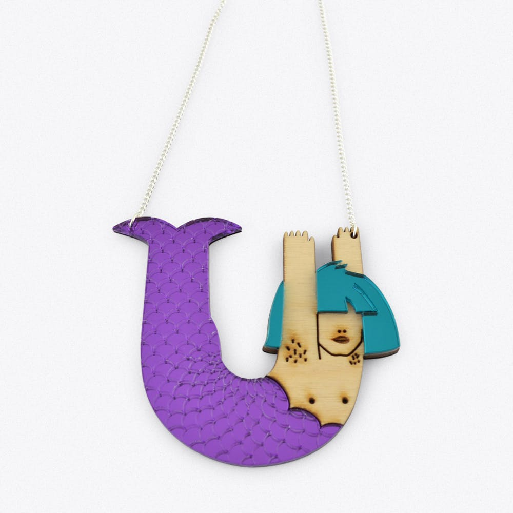 Mermaid Necklace in Purple and Teal