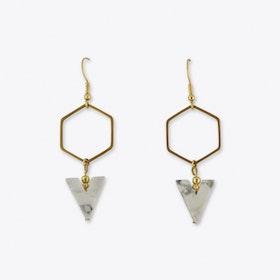 Howlith Hexagon Earrings