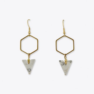 Howlith Hexagon Earrings