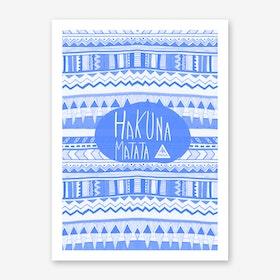 Hakuna Matata Navy Blue Art Print