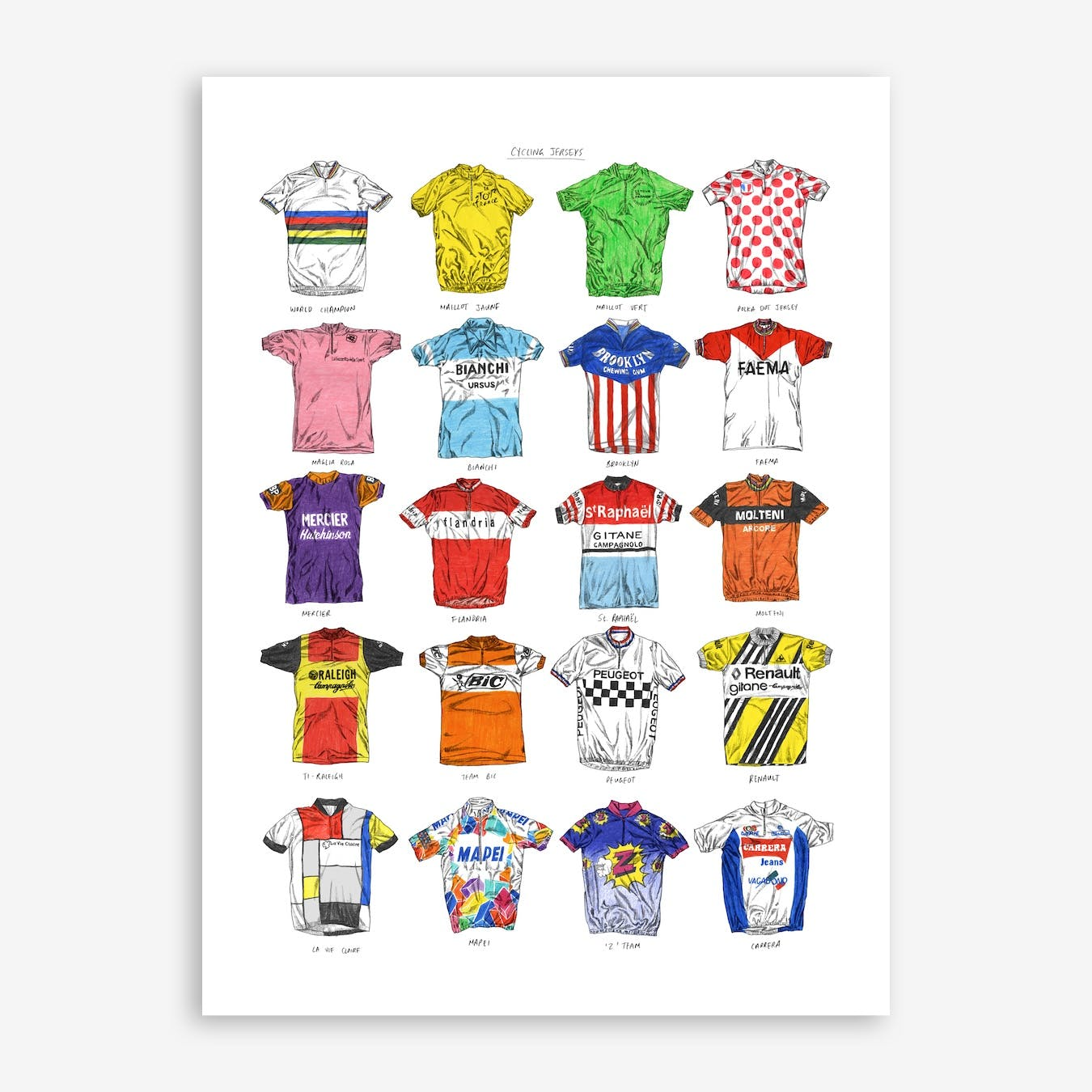 Cycling Jerseys Edition 1 Print