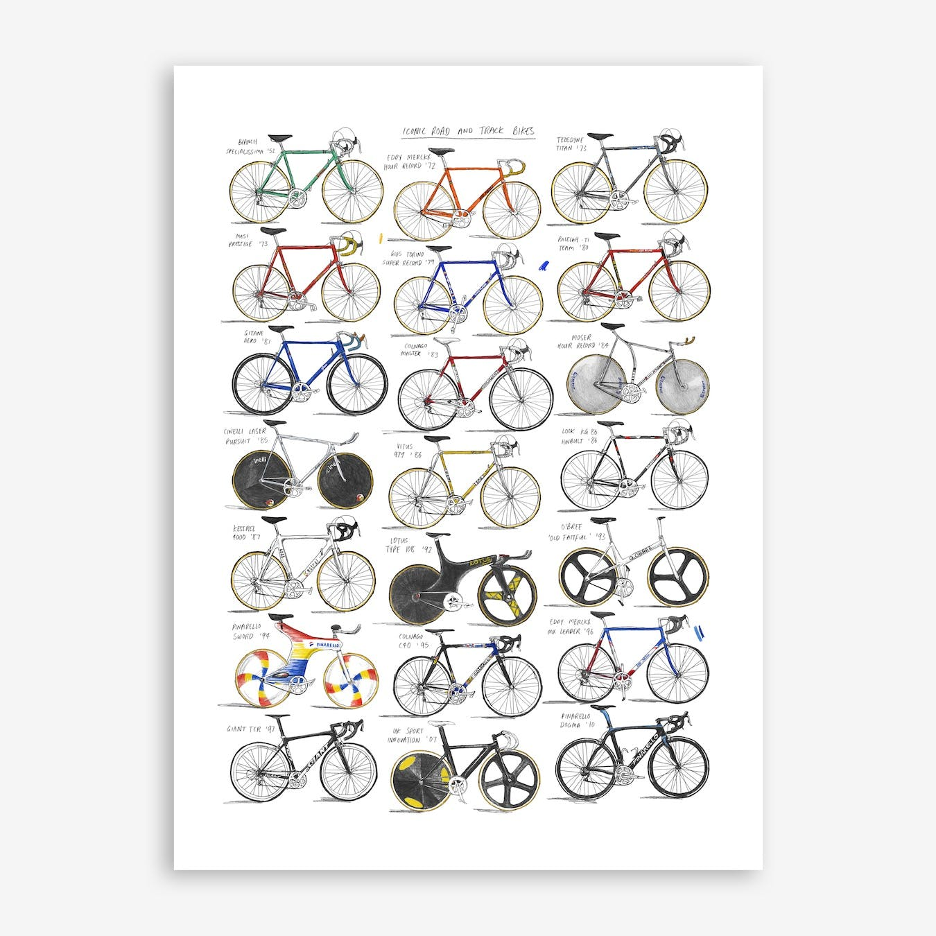 Iconic Road And Track Bikes Print