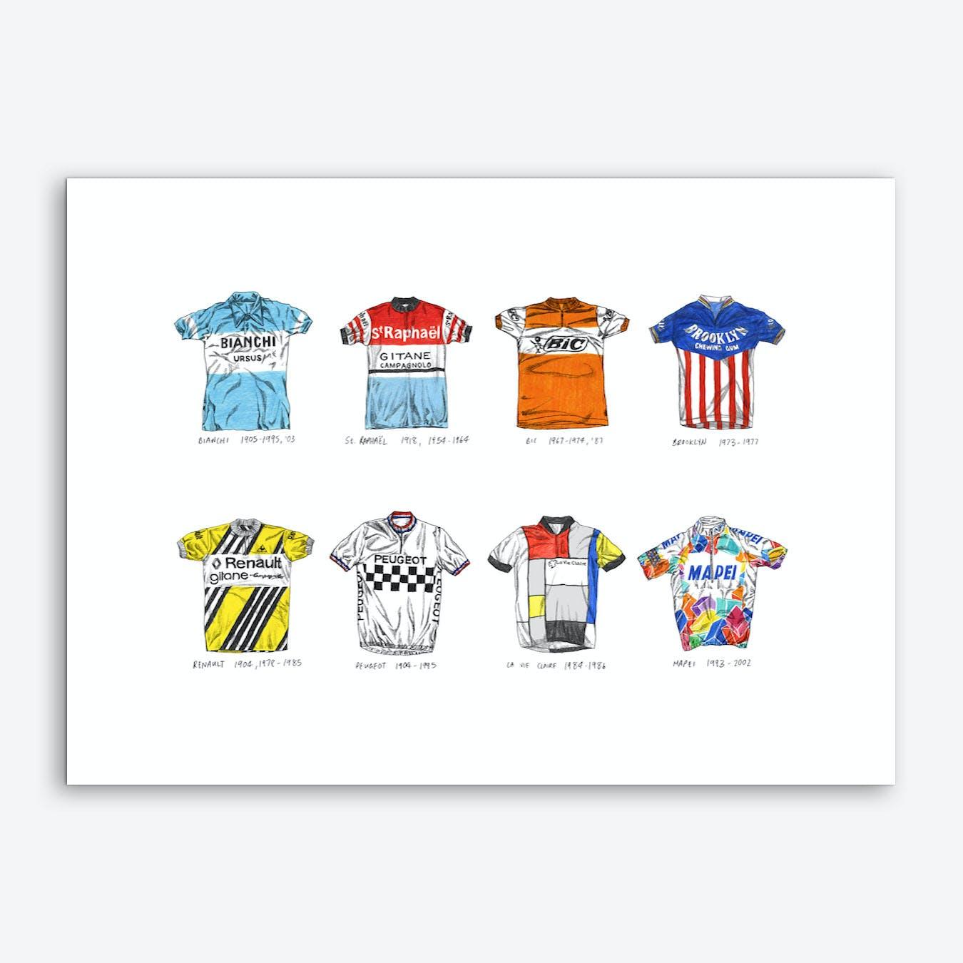 France and Italy Cycling Jerseys Art Print