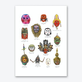 Asian and Australasian Masks Art Print