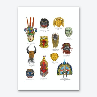N.Central and South American Masks Art Print