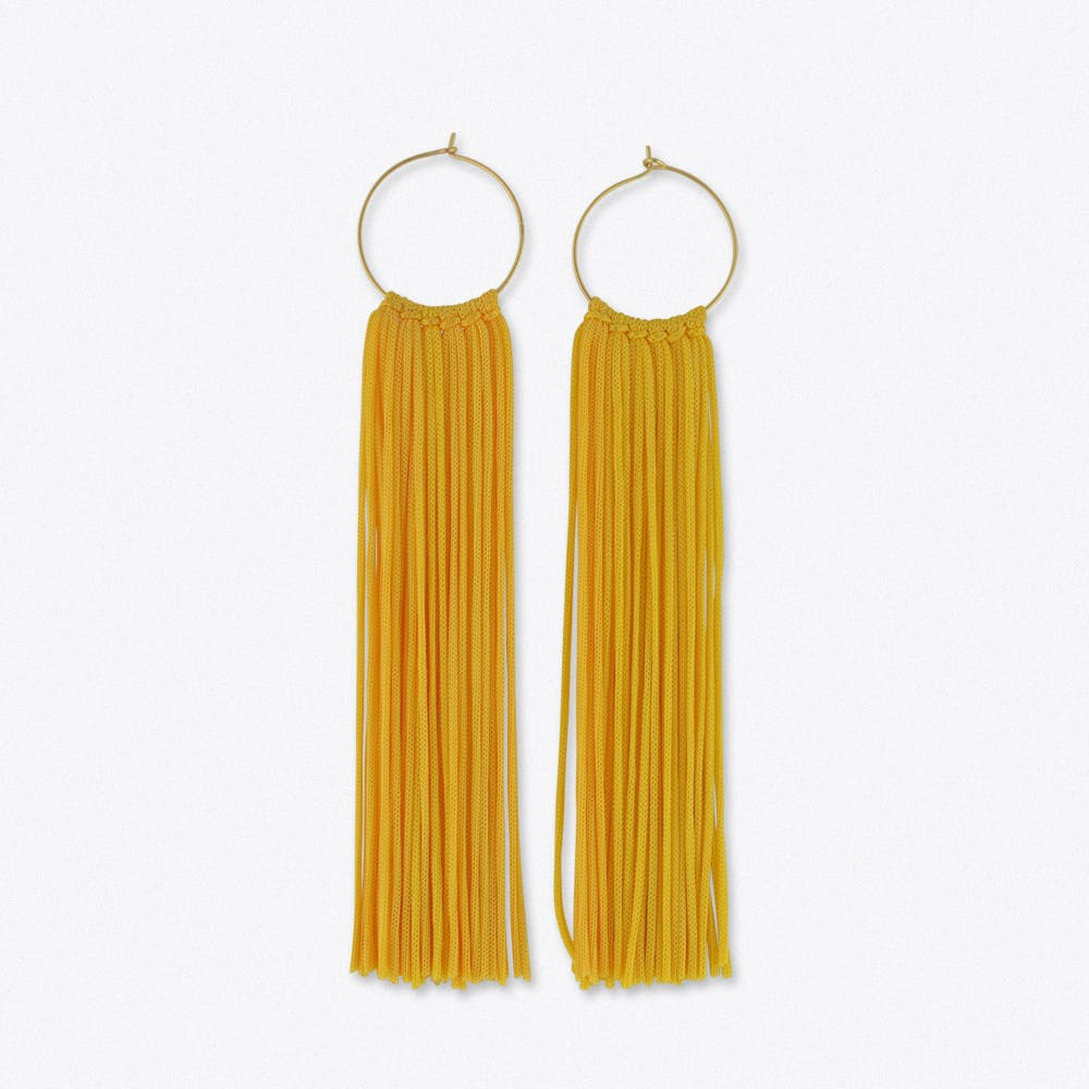 Tassel Hoop Earrings in Yellow & Gold