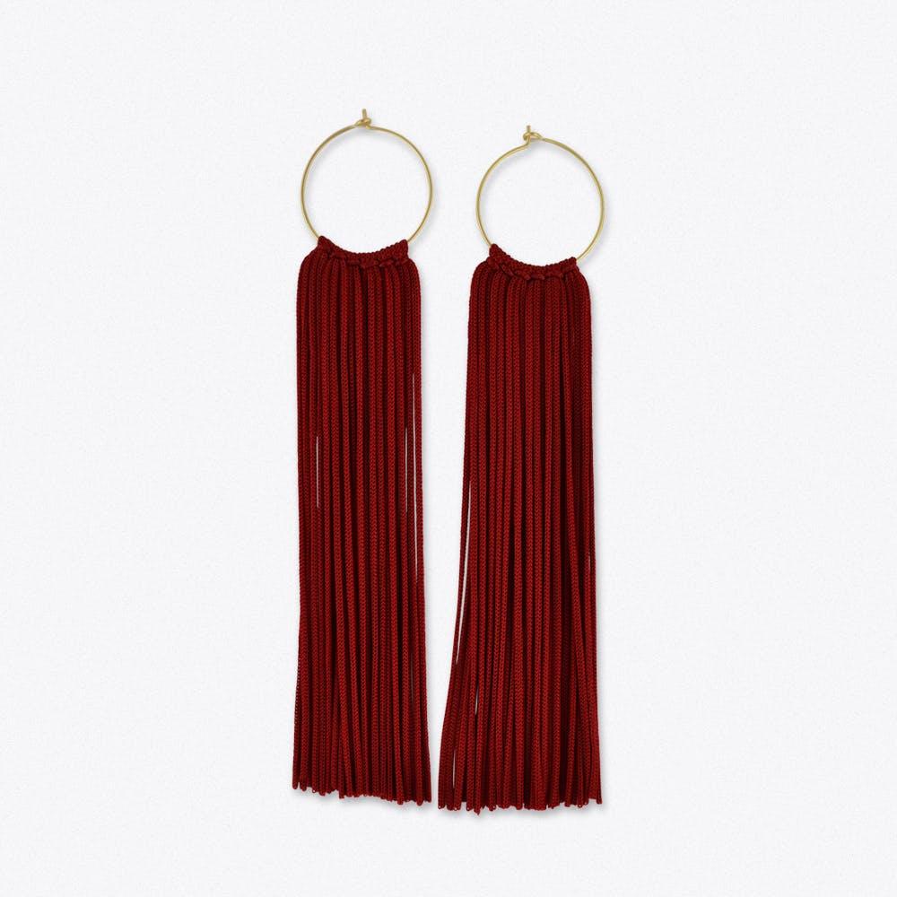 Tassel Hoop Earrings in Burgundy & Gold