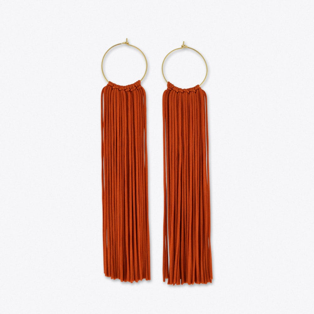Tassel Hoop Earrings in Rust & Gold