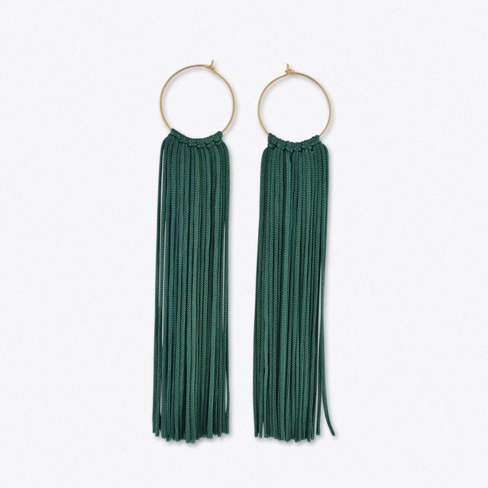 Tassel Hoop Earrings in Dark Teal & Gold