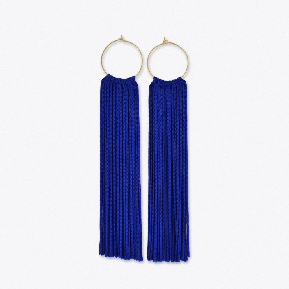Tassel Hoop Earrings in Electric Blue & Gold