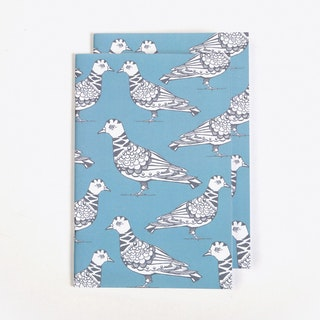 Polite Pigeon Notebook in A5 (Set of 2)