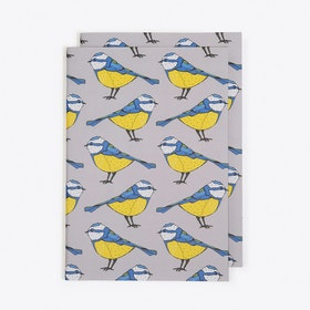 Bold Blue Tit Notebook in A5 (Set of 2)