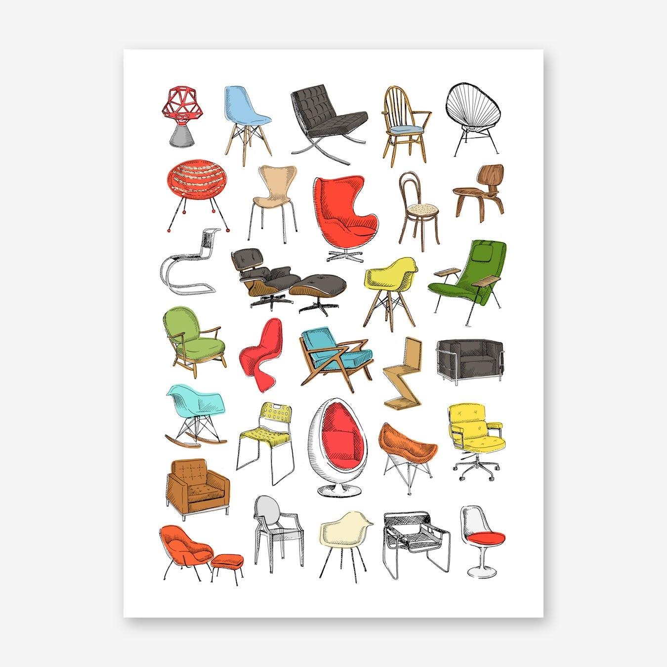 Iconic Chairs Art Print