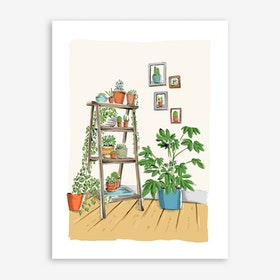 Plants On A Ladder Art Print