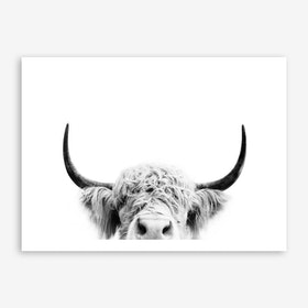 Peeking Cow BW Art Print