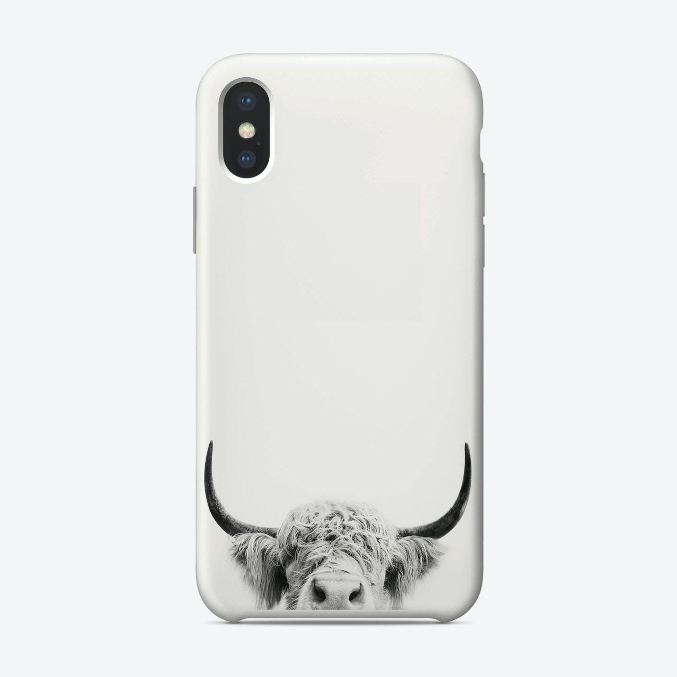 Peeking Cow BW iPhone Case
