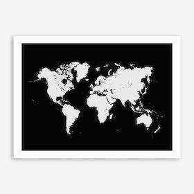 World Map in Black Art Print