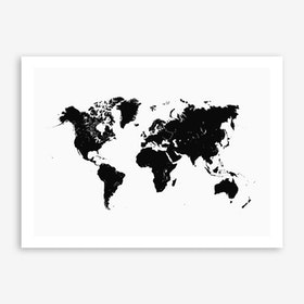 World Map in White Art Print